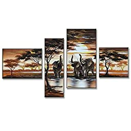 Neron Art - Elephants Landscape Oil Paintings Set of 4 Panels on Gallery Wrapped Canvas overall 55X32 inch