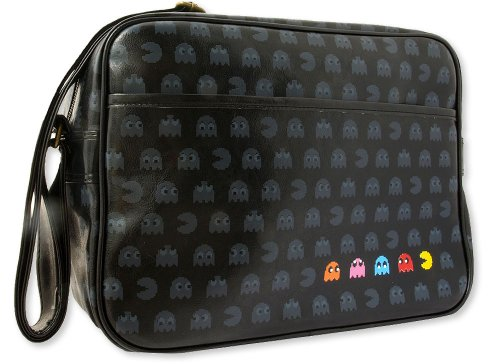 Skyline Pac-Man Fever 80s Retro Bag - Vintage Black Messenger Bag