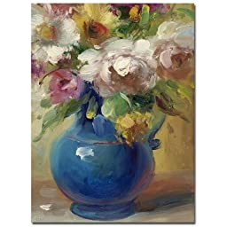 Trademark Fine Art Flowers in a Blue Vase by Master\'s Art Canvas Wall Art, 35x47-Inch