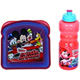 HMI Disney Junior High Quality BPA Free Sports Sipper Water Bottle And Sandwich Lunch Box Combo Set, 500ml, Multi-color...