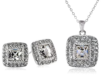 Sterling Silver White Swarovski Elements Crystal Square Stud Earrings and Pendant Necklace Jewelry Set