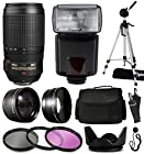 Nikon AF-S VR Zoom-NIKKOR 70-300mm f/4.5-5.6G IF-ED Lens 2161 with Deluxe Accessories Package includes 2.2x Telephoto Adapter + 0.43x Wide Angle Fisheye Adapter + Flash + Tripod + Large Padded Case + 3 Piece Filter Kit + Tulip Lens Hood + Cleaning Kit + $50 Gift Card for Prints for Nikon DF D7200 D7100 D7000 D5500 D5300 D5200 D5100 D5000 D3300 D3200 D3100 D3000 D300S D90 D60 DSLR SLR Digital Camera