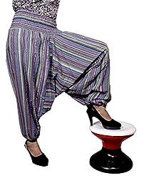 Cotton Aladdin Striped Genie Harem Beggy Pants Gypsy Trousers Free Size (Blue)