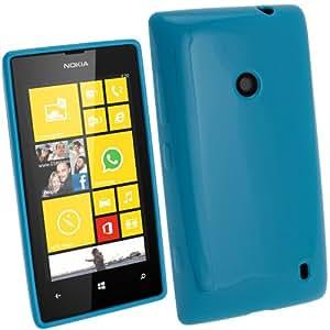 igadgitz Blu Custodia TPU Gel Case Cover Rigida Protezione per Nokia Lumia 520 Windows Smartphone + Protettore Schermo