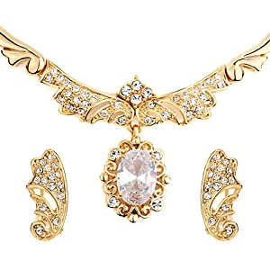 Pugster 3 Pieces of April Birthstone Gold Drop Swirl Rhinestone Crystal Pendant Earrings Set Earring