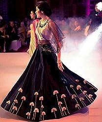 Shree Ganesh Women's Designer Multi-Coloured Silk Semi-Stitched Lahenga Choli [L137_Multi-Coloured]