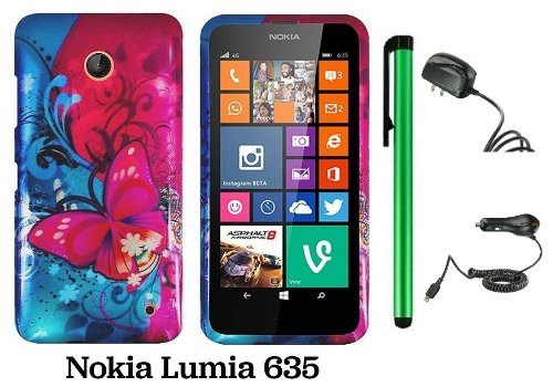Nokia Lumia 635 (Us Carrier: T-Mobile, Metropcs, And At&T) Premium Pretty Design Protector Cover Case + Travel (Wall) Charger & Car Charger + 1 Of New Assorted Color Metal Stylus Touch Screen Pen (Pink Butterfly Bliss Blue Swirl)
