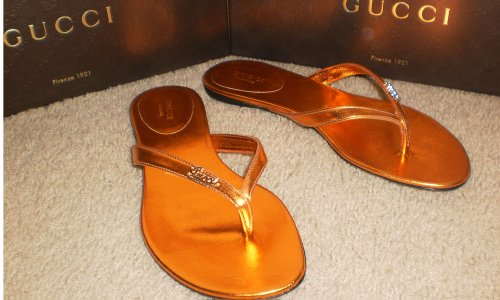 Authentic Gucci Classic Womens Genuine Leather Sandals Flip flops Flat Shoes Made in Italy Orange US 7