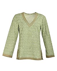 Geroo Women's V-Neck Cotton wave prited Top (V00-25, Green, 40)