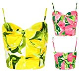 New Womens Zip Back Floral Printed Boobtube Bralet Cropped Bra Vest Ladies Top