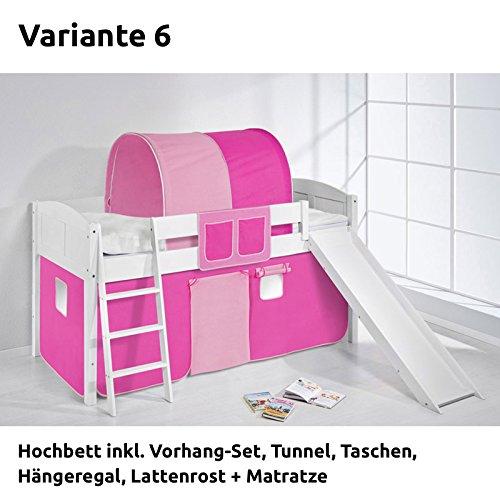 Hochbett Spielbett IDA Rosa Rosa, mit Rutsche und Vorhang, weiß, Variante 6