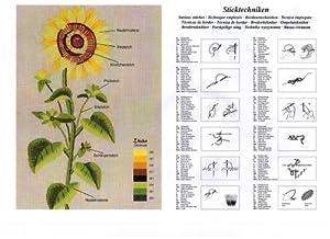 """*** Stickpackung """"SONNENSCHEIN"""" mit wundervollen gelben Blumen - Stickdecke 80 cm x 80 cm ***"""