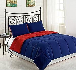 Cozy Beddings Lightweight Reversible Down Alternative Summer Comforter Set, Full/Queen, Red/Blue