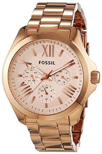 Fossil-AM4511 Women's Watch Analogue Quartz Luminous Hands-Free Gold-Plated Stainless Steel Bracelet