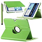 Pandamimi ULAK PU Leather 360 Rotating Folio Stand Case Cover for Samsung Galaxy Tab 3 10.1 P5200 P5210(With Auto Wake/Sleep Smart Cover Function and Stylus) (Green)