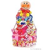 すまいる おむつケーキ < アンパンマン > 2段 出産祝い ギフト 【 名入れ 刺繍 & メッセージカード & ラッピング 無料 】 ( オムツ パンパース M ) 男の子 女の子 お祝い プレゼント ( フレンドベル ピンク )
