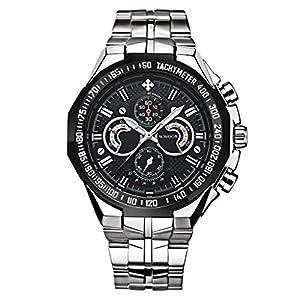 Men's Luxury Stainless Steel Waterproof Watch Luminous Hour Clock Men Casual Dress Sport Wristwatch Black