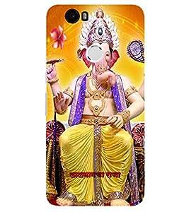 Evaluze lord ganesha Printed Back Case Cover for NEXUS 6P