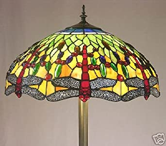 dragonfly stained glass tiffany style floor pole lamp. Black Bedroom Furniture Sets. Home Design Ideas