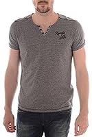 Kaporal - T-Shirt Garmi gris à fines rayures noir col V homme été 2015