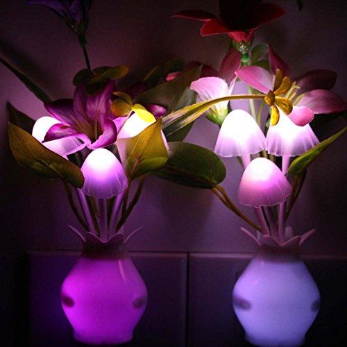 Taozi 2PCS Kids Night light Color Changing Flower Plug In LED Mushroom Nightlight Wall Lights ...
