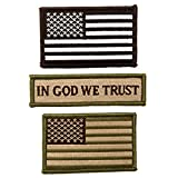 3 Pack - Tactical USA American Flag Patch + Morale Patch In God We Trust
