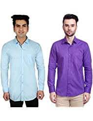 Nimegh Purple, Sky Blue Color Cotton Casual Slim Fit Shirt For Men's (Pack Of 2)
