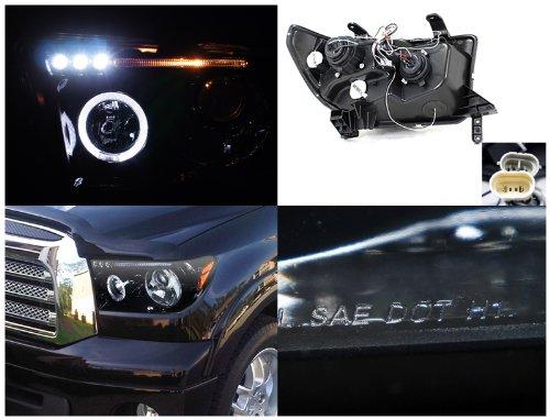 Piano Black Toyota Tundra Halo Rim Led Projector Headlights