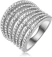 Comprar AnaZoz joyería de moda anillo 18 K oro rosa plateado dedo anillo austriaco tamaño