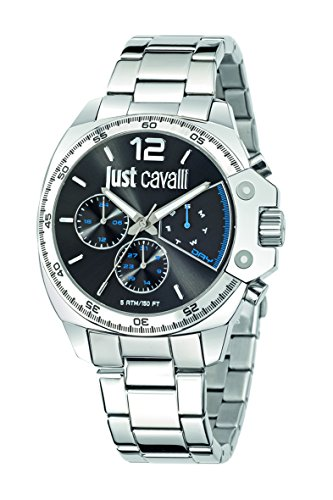 Just Cavalli Just Escape Men's Quartz Watch with Grey Dial Analogue Display and Silver Stainless Steel Strap R7253213001