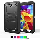 Fintie Samsung Galaxy Tab 4 8.0 Case [CaseBot Tuatara] - Rugged Unibody Dual Layer Hybrid Full Protective Cover with Built-in Screen Protector and Impact Resistant Bumper, Lifetime Warranty , Black