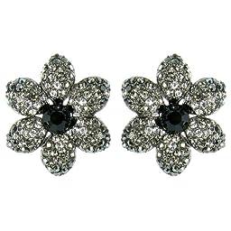 Black on Antique Silver Heirloom Movie Star Flower Earrings