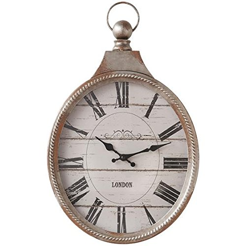 Pocket Watch Wall Clock, 16.5Hx11.25Wx, WEATHERED BROWN AND ANTIQUED CREAM