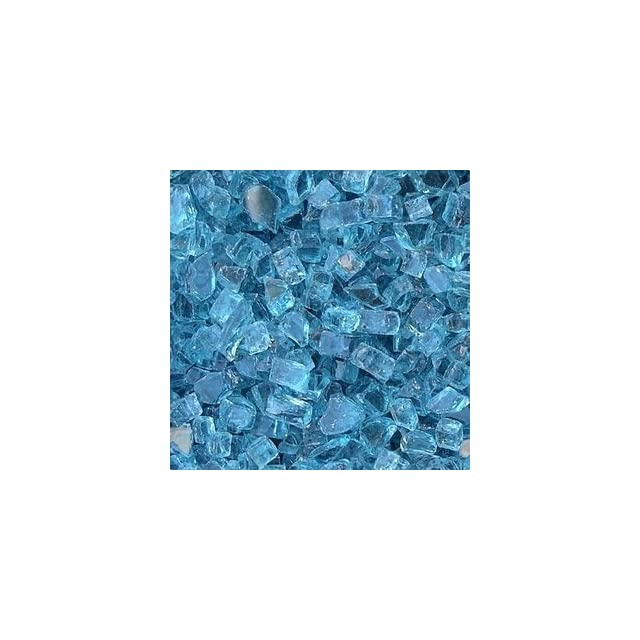 Fireplace Glass, 15 ~1/4 Arctic Blue + 35 Clear Base , 50 LBS Total