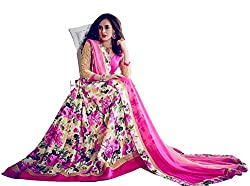 Sitaram womans banglori silk floral printed festive wear lahenga choli style semistiched dress material with nazmeeen floral printed lace dupatta.