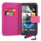 32nd® Book wallet PU leather case cover for HTC One (M7) + screen protector, cleaning cloth and touch stylus - Hot Pink