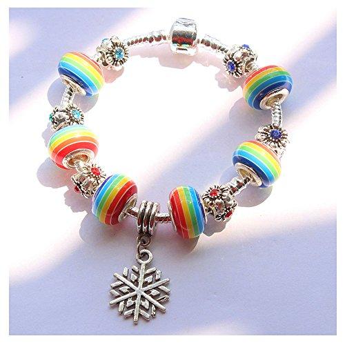 Mr Rabbit Fashion Silver Plated Murano Glass Crystal Beads Bracelet for Women Teen Girls Snake Chain Charm Bracelets,Pandora Bracelets(4#)