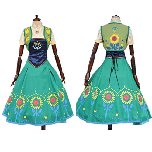 Flowerbb 4pc Anna Sunflower Adult Cosplay Halloween Costumes for Adult Cos05