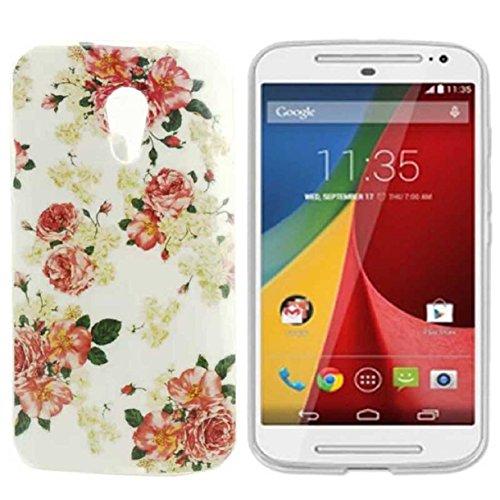 Mokingtop Rose Soft Gel TPU Silicone Case Cover Skin for Motorola Moto G2