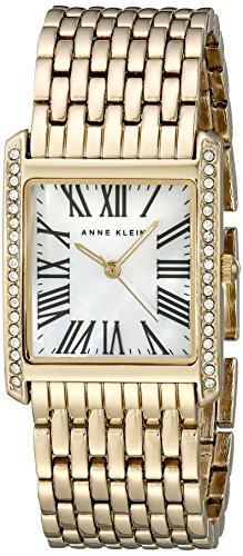 Anne Klein Women's AK/2000MPGB Swarovski Crystal Accented Rectangular Gold-Tone Bracelet Watch