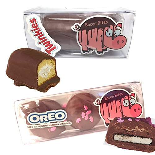 Bacon Milk Chocolate Covered Oreos & Twinkie Combo Gift Set - Twinkies & Oreo Cookies Dipped in Milk Chocolate (Chocolate Twinkies compare prices)