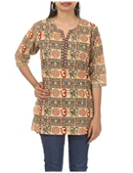 Rajrang StyLish Hand BLock Printed Short Cotton Kurta Top Tunic Size L