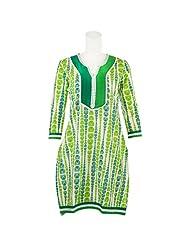 Pooja Green Color Kashida Cotton Straight Kurti For Women