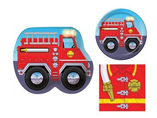 Firefighter Fire Truck 16 Child Birthday Party Bundle - 3 Items: Dinner Plates, Dessert Plates & Napkins (Fire Birthday Party Supplies compare prices)