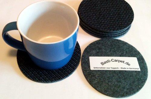Untersetzer aus Teppich Filz rund Textilrücken 6-er Set für Gläser, Tassen oder Vasen schwarz-blau 12 cm