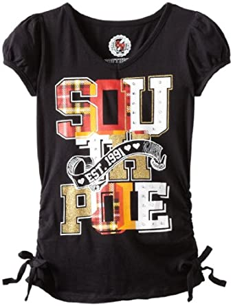 Southpole Big Girls' V-Neck Side Ruched Rhinestone Logo T-Shirt, Black, Small