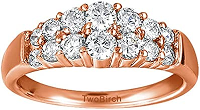 Silver Domed Double Row Wedding Anniversary Band with White Sapphire 1 ct twt