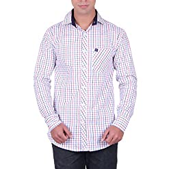 Cotblend Men's Casual Shirt (CB-80CTN-Red-L, White, L)