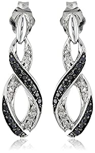 Sterling Silver Ribbon Black and White Diamond Earrings (1/5 cttw, I-J Color, I2-I3 Clarity)