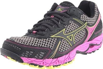 Mizuno Women's Wave Ascend 6 Running Shoe,Dark Shadow/Super Pink-Wild Lime,6 M US